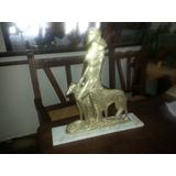 Escultura Petit Bronce Mujer Con Perros Con Marmol Firmada !