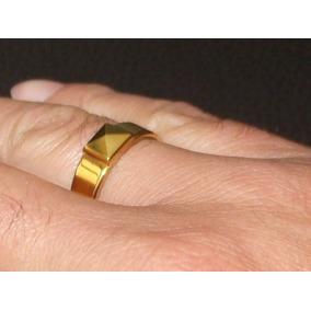 Anillo Pirámide Oro 24k/tungsteno Matrimonio Boda Compromiso