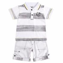 Conjunto Santos Camisa Polo E Bermuda Infantil Oficial