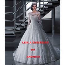 Vestido De Noiva Modelo Princesa Manga Comprida Com Bordados