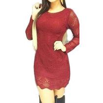 Vestido Feminino Manga Longa Tricot Crochê Festa Promoção