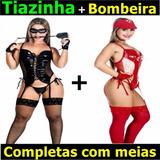 Espartilho Lingerie Tiazinha Dominadora Bombeira Festa Sexy
