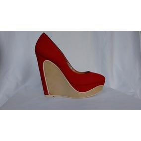 185 - Sapato Feminino Vermelho Anabela Marca Schutz Nº 34