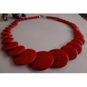 Colar De Pedra Natural Howlita Vermelha, Artesanato, Lindo!!