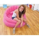 Poltrona Inflável Intex Rosa C/ Almofada - Lounge - Puff