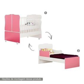 Berço Branco Rosa Infantil Vira Mini Cama 100% Mdf Qmovi