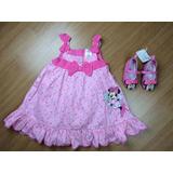 Conjunto De Vestido E Sapatilha Infantil Minie Disney