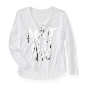 Camiseta Aeropostale Manga Longa Branca Termica Feminina