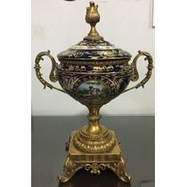 Vaso Potiche Anfora Europeia Porcelana E Bronze