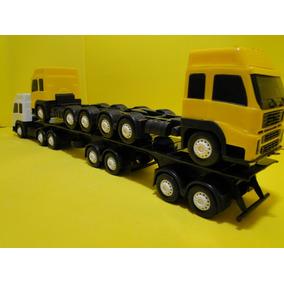 Caminhão Brinquedo 07 Eixos Cegonha Bitrem 1/32 Volvo Scania