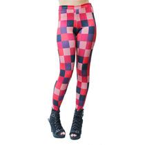 Calça Legging Estampa Exclusiva Xadrez Vermelha Balada