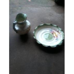 Antiguo Jarron Jofaina Con Palangana De Ceramica