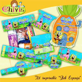 Kit Imprimible Bob Esponja Etiquetas Fiesta Invitacion