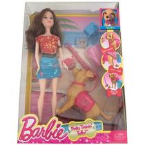 Boneca Barbie Com Cachorrinho Que Faz Cocô Articulada