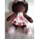 Boneca De Pano Allegra Rosa Negra Artesanal
