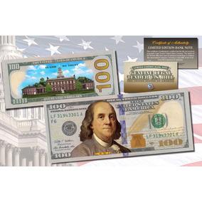 Cédula De $ 100 Dólares Legitima Colorida - Raridade