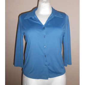 Things Contempo! Blusa Azul Camisera Manga 3/4, Talla 28