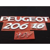 Emblemas Cromado Para Peugeot 206 1.6 (kit Com 4 Peças)
