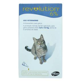Revolution 6% Gatos De 2,6 Kg Até 7,5kg 1 Tubo Anti Pulgas