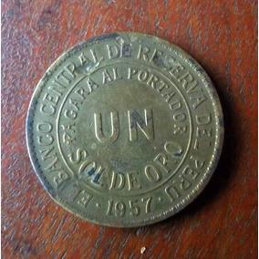 Peru Un Sol De Oro 1957 Moneda En La Plata (no Es De Oro)