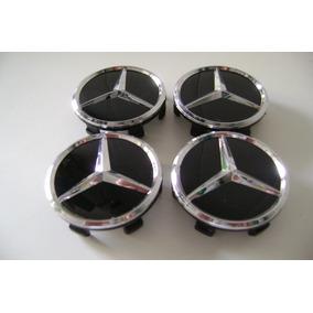 Jogo Calotas Miolo Centro Rodas Aluminio Mercedez Benz Preto