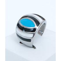 Anillo Acero Quirurgico Con Murano Azul