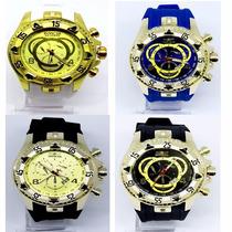 Relógios Masculino Dourado Grandes Exclusivos Na Caixa