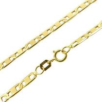 Corrente Cordão Piastrine 50cm Em Ouro 18k