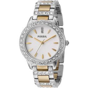 Relógio Feminino Fossil Es2409 Prata Dourado Novo Original