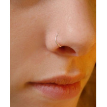 Piercing De Argola De Nariz Folheada A Ouro Fininha 6mm 8mm