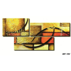 Cuadro Triptico Abstractos Modernos Con Relieve Y Textura