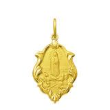 Medalha Nossa Senhora De Fátima Ouro 18k 1,5 Cm Certificado