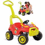 Carrinho Bebe Quadriciclo Infantil Pedal Menino Vermelho 3x1