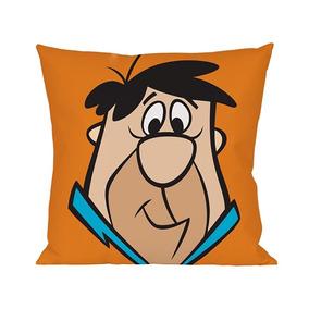 Capa P/ Almofada Fred Flintstones Poliéster Laranja 45x45cm