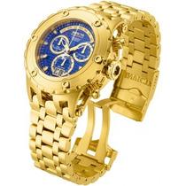 Relógio Invicta Subaqua Plaque Ouro Fundo Azul Ref 14469
