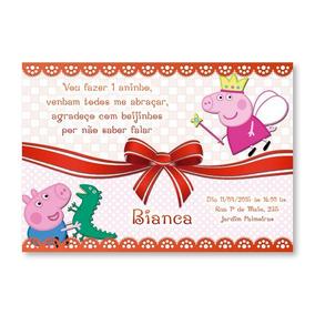 30 Convites Personalizados Com Envelope E Tag - Peppa Pig