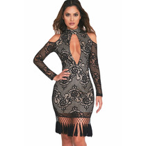 Vestido Negro De Encaje Muy Sexy , Muy Fino Y Elegante