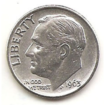 Estados Unidos Moneda 1 Dime 10 Centavos De Plata Año1963d#