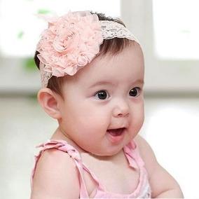 Faixa Tiara Cabelo Bebê Renda Flor Rosa Pronta Entrega