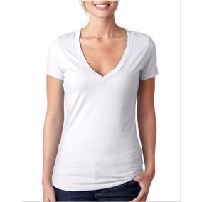 Camiseta Tipo Gef / Punto Blanco En Polialgodón Cuello V