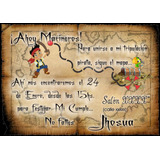 50 Tarjetas Cumpleaños 10x14 Cm. Bifaz Pergamino Pirata Jake