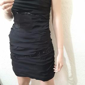 Vestido Corto Negro Talla 8 Marca Express /seda
