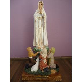 Imagem Resina Importada N. Sra. De Fátima Com Pastores 40cm