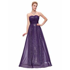Vestido Morado De Fiesta Strapple Largo Elegante Boda Formal