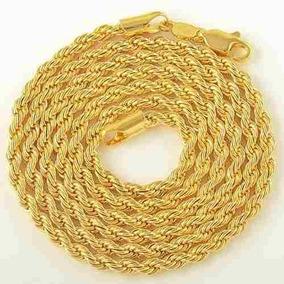 Cordão Unissex Folheado Ouro 18k Modelo Corda