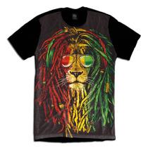 Leao Lion Bob Marley Reggae Rastafari Camiseta Personalizada