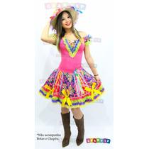 Vestido De Festa Junina Adulto Quadrilha Junino Luxo Caipira