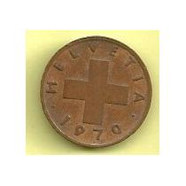 Moneda Suiza 1 Rappen (1970) Cruz Espiga