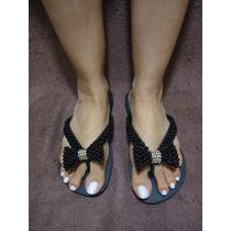 Sandálias Havaianas Customizados Com Laço De Pérolas