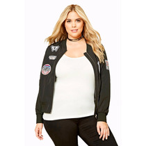 Campera Bomber Chaqueta Forever 21 Talle Especial Parches